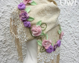 Boho vintage lace Scarf - Nuno Felt-extra long scarf-boho wrap - Faerie Scarf - shabby vintage-summer scarf-wedding wrap shrug