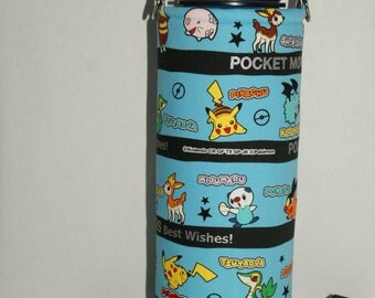 """Insulated Water Bottle Holder for 40oz Hydro Flask / Thermos with Interchangeble Handle/Strap Made with """"Pokemon BW - Border Stripe"""" Fabric"""