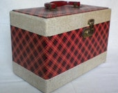 vintage sewing box sewing caddy vintage sewing chest Scottish plaid pattern sewing box