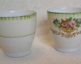 antique demitasse cups CHIKARAMACHI hand painted Japan set of 2