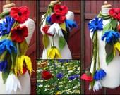 felted flower necklace,merino wool, scarf, handmade, felt, lagenlook, MADE TO ORDER, wild flowers, poppy, cornflower, eco friendly