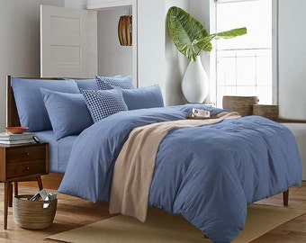 Pillow case 100% Linen Flax Blue color - Washed Softened - Housewife Standard Queen King Euro -  Ideal for HOT climate