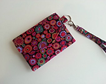 Quilted Keychain Wallet in Kaffee Fassett Paperweight