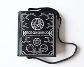 Black Leather Book Purse Necronomicon Book Bag