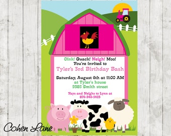 Pink Barnyard Party Invitation.  Pink Barn invite.  Farm Party Invite.  Farm Animals Invitation.  Pink Farmyard Invite.