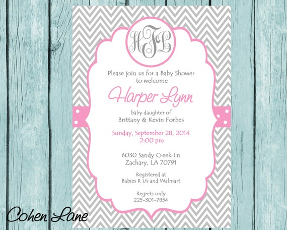 Monogram invitation monogram baby shower invitation monogram wedding il570xn filmwisefo