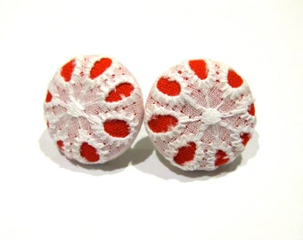 Fabric covered button earrings in red with white lace
