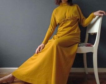 Vintage 60s 70s Saffron Mustard Yellow Maxi Dress Empire Line Dolman Sleeve Maxi Betty Carol Saks Fifth Avenue Small