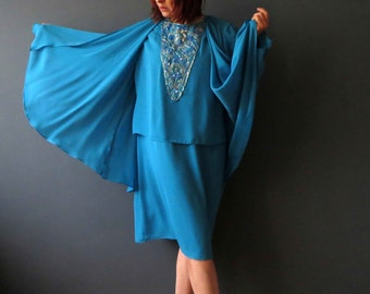Vintage 80s Sky Blue Beaded Cape Toga Tunic Dress Large