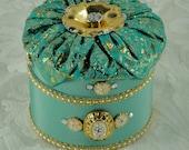 Round Fabric Covered Jewelry Box