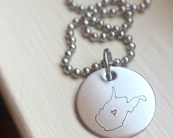 West Virginia WV State Pride Necklace Love Heart