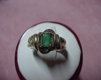 Vintage Colombian Emerald Solitaire Ring, .50 Carat, 6MM4MM, Sterling Silver, Size 6.25