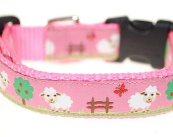 "Lambs on Pink - 3/4"" Adjustable Dog Collar"