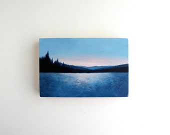 Adirondack Lake Oil Painting - 4 x 6