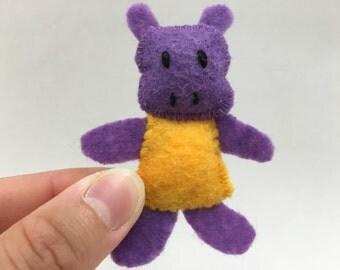 Little Miss Hippo--purple hippo pocket felt doll, gold dress