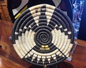 EAGLE BASKET Native American Hand Crafted Coiled Woven Basket Large Round  Polychrome Navajo Hopi Southwest Usa  Home Decor