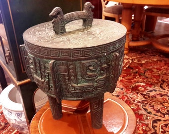 James Mont Bronze Chinese Ding Tripod Ice Bucket, Stainless Steel Insert HollyWood Regency Era Decor