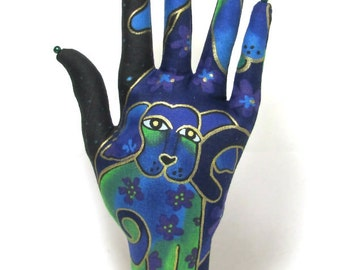 Laurel Burch Dogs n Doggies Fabric Hand Jewelry Organizer POPULAR Style HAND-Stand