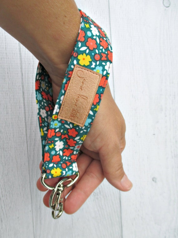 Butterflies and Flowers Wristlet Key Fob | Key Lanyard with Vintage-style Flowers on Emerald Background