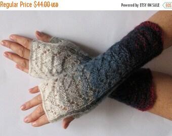 Fingerless Gloves Blue Gray Off White Burgundy wrist warmers