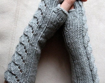 Gray Dove Fingerless Gloves 10 inch Arm Warmers Mittens, Acrylic