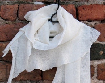 Linen Scarf White Organic Linen Women's Scarf Pure Linen Spring Clothing