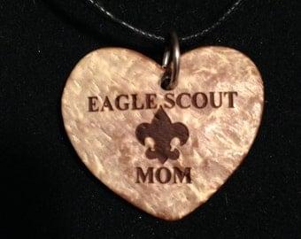 Necklace - Eagle Scout Mom Coconut Heart Pendant Necklace