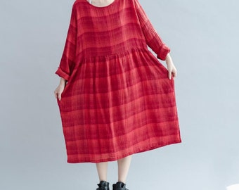 Autumn Leisure round collar long sleeve dress lattice loose fitting long dress