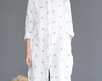 Autumn Loose Fitting women white Long sleeve shirt Single breasted white gown