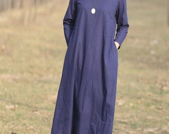Cotton and linen dark blue long dress women large size clothing