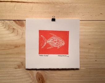 Mirco Perm linocut original fly fishing artwork by Jonathan Marquardt of BadAxeDesign