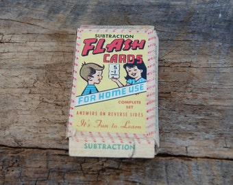 Vintage Subtraction Math Flash Cards Built Rite Warren Paper Products Co Indiana
