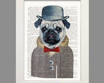 PUG Dog Art Mister Pug Vintage Art  Print Poster  Painting  Illustration Dictionary Art Pug Art Gift for Pug Lover Fashion