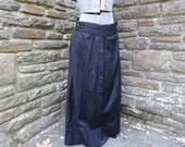 vintage women's original Edwardian skirt 1900's black steampunk pleated textiles Halloween