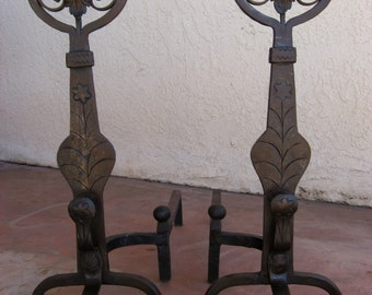 Circa 1920's Spanish Revival Hand Forged Wrought Iron Andirons