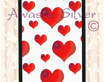 Beautiful white with red hearts iPhone 5c or 5s case. Black or white rubber base