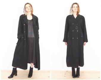 90s Minimal Long Black Trench Coat / Size Medium