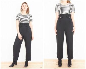 90s Black White Pants Romper / Stripe Top Jumpsuit