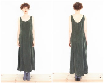 90s Minimal Sleeveless Dark Green Dress