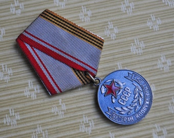 """Vintage original Soviet Russian medal """"A veteran of the armed forces"""""""