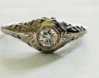 Clearance Antique Diamond engagement ring, Vintage 14k white gold, filigree, Art Deco, solitaire w/ Appraisal 2866 USD, .35ct Clean VS, H co