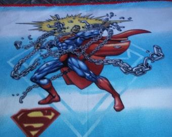 Superman panel fleece blanket with crocheted edge