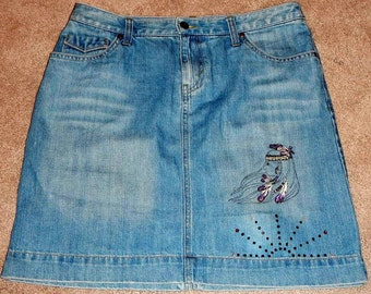 Eddie Bauer Denim Skirt Women Size 8 With Added Native American Embroidery Embellishment and Crystals