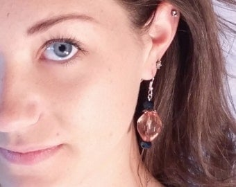 Amber and Metalic colored Dangle Earrings by gr8byz