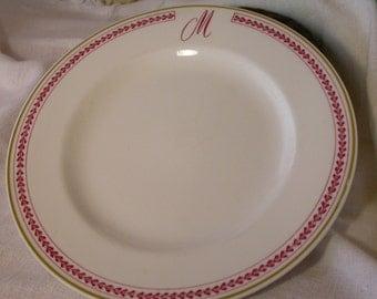 Homer Laughlin Best China Monogram Plate