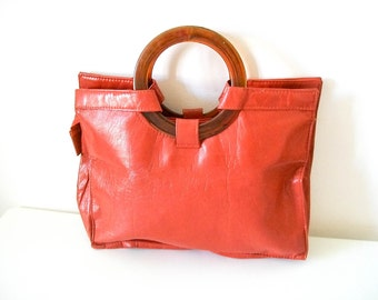 "Vintage 60s  ""Tangy Twiggy"" faux leather retro orange handbag with lucite handles"