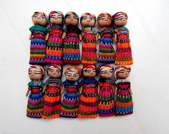 "12 Handmade 2"" Worry Dolls  Best Quality made in Guatemala"