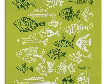 iCanvas Fish Inkings Lime Artprint Gallery Wrapped Canvas Art Print by Cat Coquillette