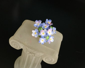 Cara China brooch Staffordshire England porcelain flower brooch pin blue forget-me-not bouquet