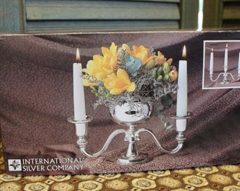 International Silver Co Silverplated Three Candle Holder With Convertible Center